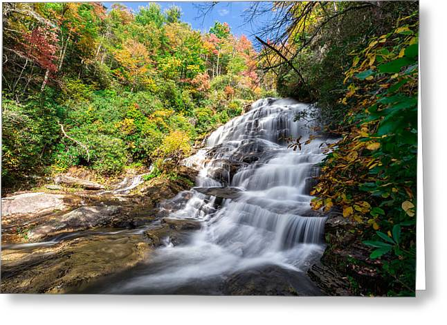 Mountains Photographs Greeting Cards - Glen Falls in North Carolina Greeting Card by Andres Leon