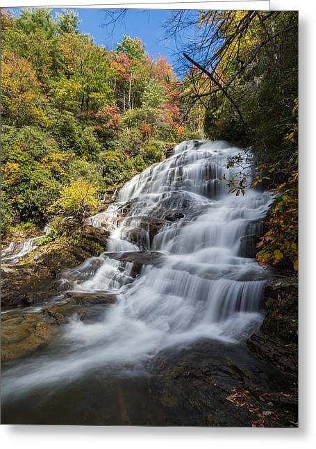 Water Photographs Greeting Cards - Glen Falls North Carolina Vertical Greeting Card by Andres Leon
