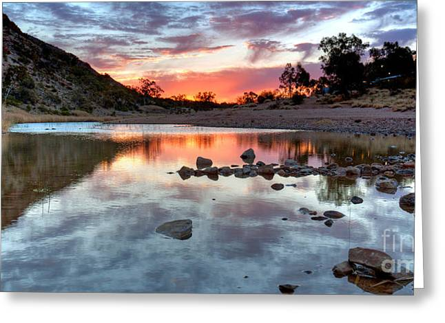 Glen Creek Greeting Cards - Glen Helen Gorge Sunset Greeting Card by Bill  Robinson