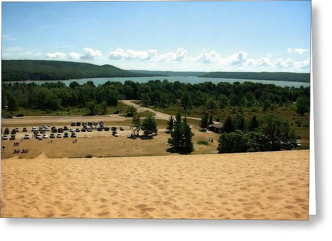 Sand Dunes Digital Greeting Cards - Glen Lake from the Dune Climb Greeting Card by Michelle Calkins