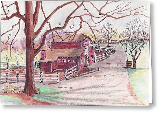 Urban Images Drawings Greeting Cards - Glen Magna Animal Barn Greeting Card by Paul Meinerth