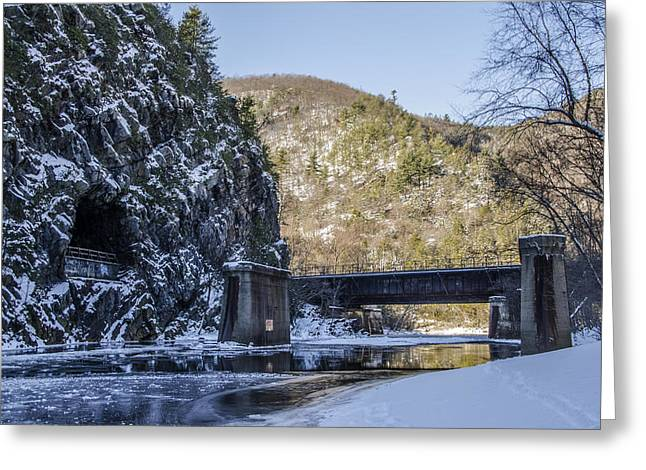 Snowy Roads Digital Art Greeting Cards - Glen Onoko Park - Lehigh River Greeting Card by Bill Cannon