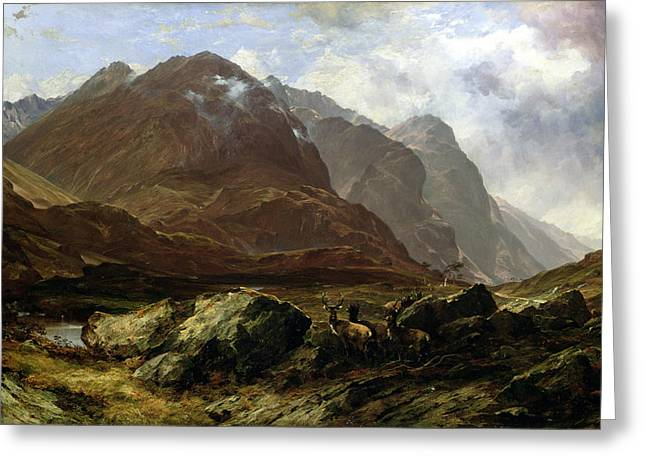 Scottish Paintings Greeting Cards - Glencoe, 1864 Greeting Card by Horatio McCulloch