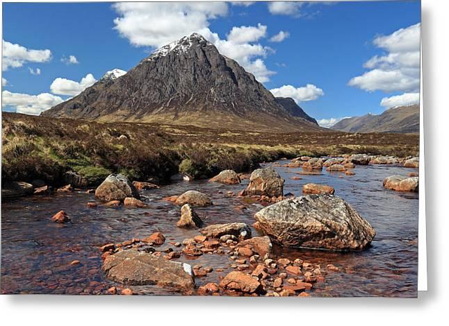 Etive Mor Greeting Cards - Glencoe mountain scenery Greeting Card by Grant Glendinning