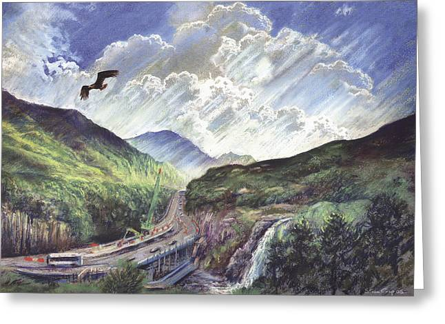 Mountain Road Greeting Cards - Glencoe Greeting Card by Steve Crisp