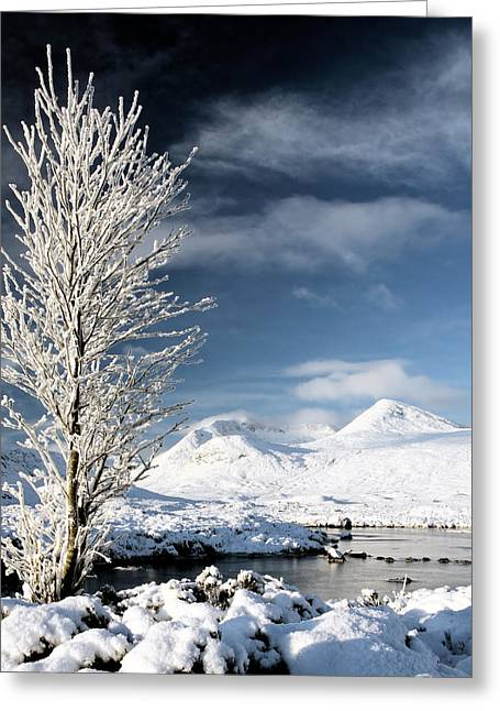 Snow Scenes Greeting Cards - Glencoe winter landscape Greeting Card by Grant Glendinning