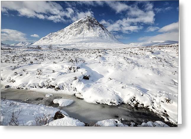 Glen Coe Greeting Cards - Glencoe winter mountain scenery Greeting Card by Grant Glendinning