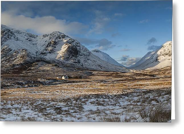 Glencoe Winter Landscape Greeting Cards - Glencoe winter panorama Greeting Card by Nigel Forster