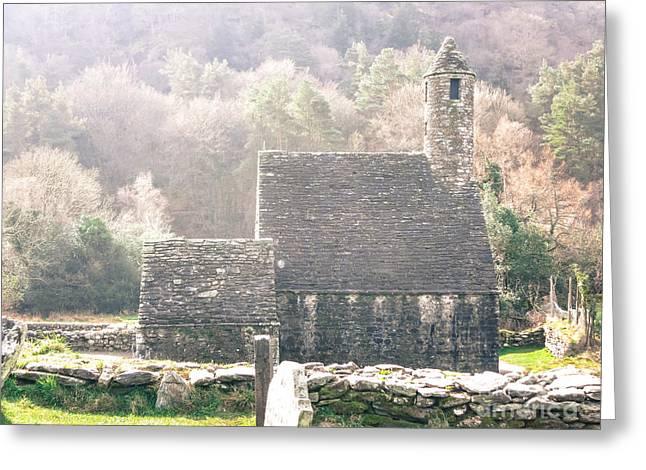 Glendalough Stone Building Greeting Card by Judi FitzPatrick