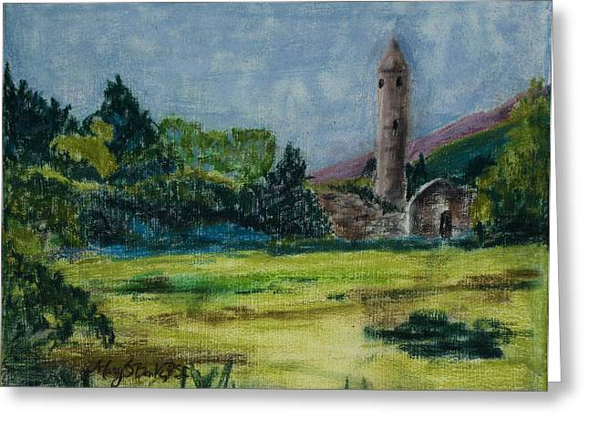 Historic Architecture Pastels Greeting Cards - Glendalough Greeting Card by Mary Benke
