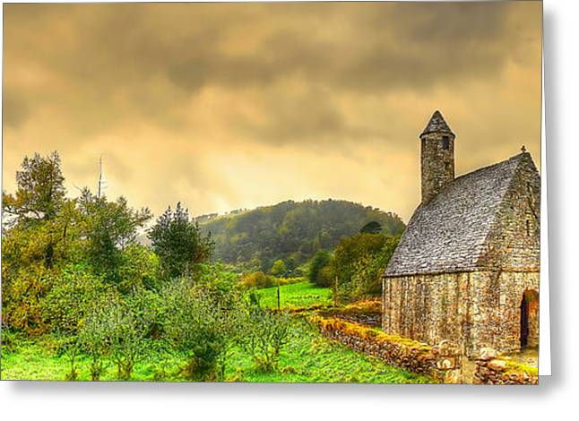 Kim Photographs Greeting Cards - Glendalough Tower and St Kevins Church Greeting Card by Kim Shatwell-Irishphotographer