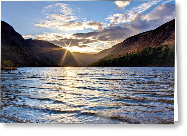 Burst Greeting Cards - Glendalough Upper Lake at Sunset - Ireland Greeting Card by Barry O Carroll