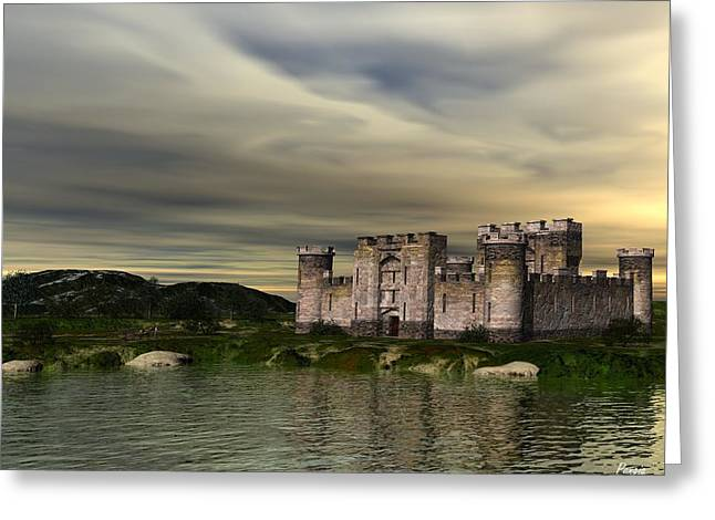 Moat Mountain Greeting Cards - Glendor Castle Greeting Card by John Pangia