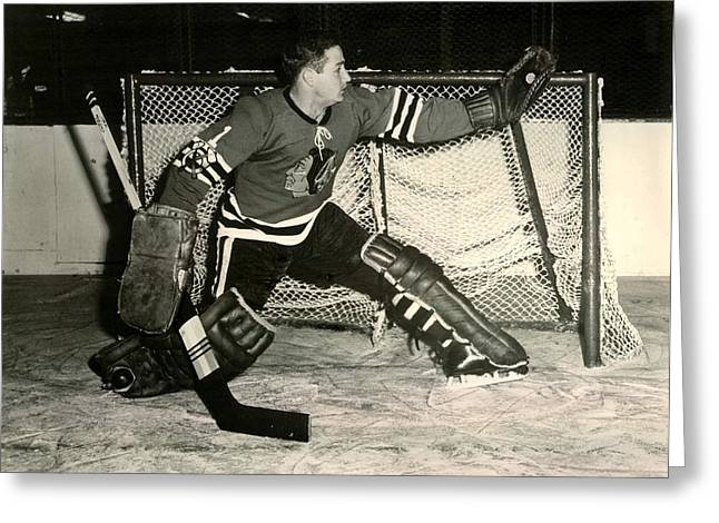 Goaltender Greeting Cards - Glenn Hall Save Greeting Card by Gianfranco Weiss