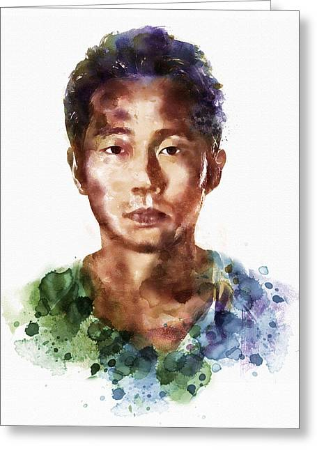 Affordable Greeting Cards - Glenn Rhee watercolor portrait Greeting Card by Marian Voicu