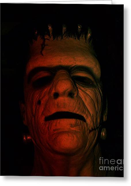 Facial Mole Greeting Cards - Glenn Strange as Frankenstein Mask Greeting Card by Jim Fitzpatrick