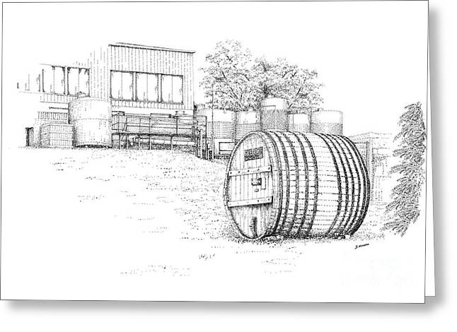 Finger Lakes Drawings Greeting Cards - Glenora Winery Greeting Card by Steve Knapp