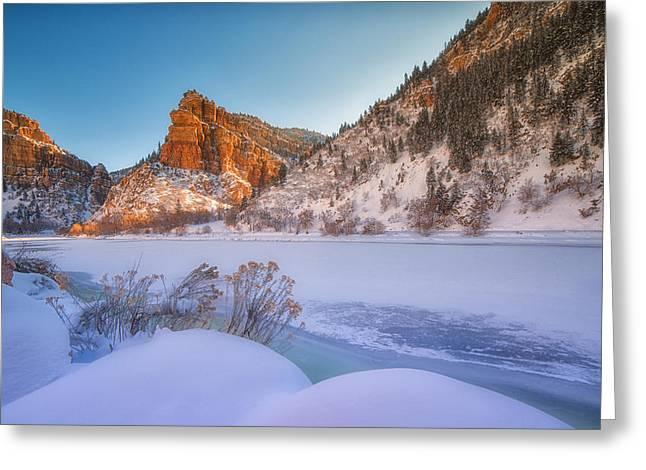 Frozen River Greeting Cards - Glenwood Springs Morning Greeting Card by Darren  White