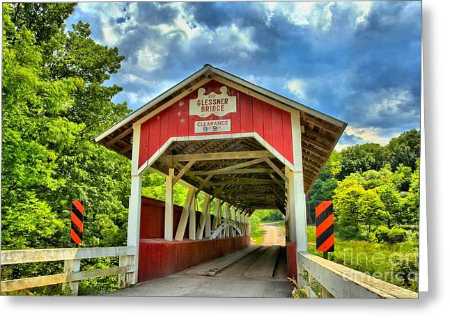 Covered Bridge Greeting Cards - Glessner Covered Bridge Greeting Card by Adam Jewell
