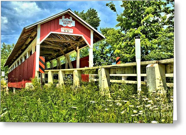 Covered Bridge Greeting Cards - Glessner Wooden Bridge Greeting Card by Adam Jewell