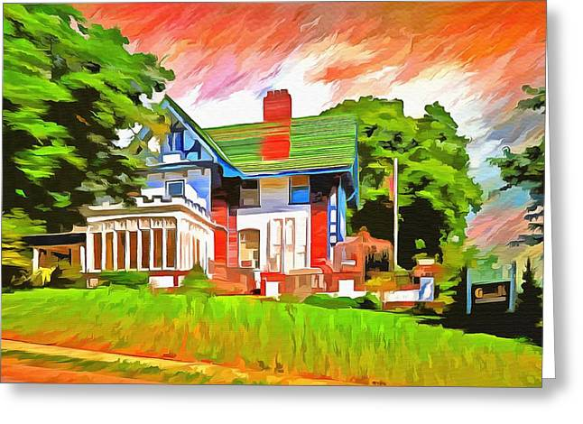 Old Home Place Paintings Greeting Cards - Glick Mansion  Greeting Card by L Wright