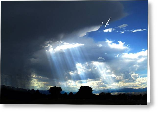 Glider over Colorado Front Range Greeting Card by Ric Soulen