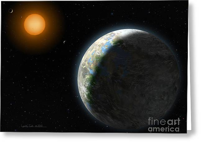 Planetary System Paintings Greeting Cards - Gliese 581 g Greeting Card by Lynette Cook