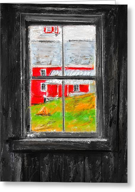 Glimpse Of Country Life- Red Barn Art Greeting Card by Lourry Legarde