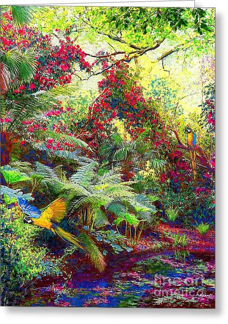 Tropical Trees Greeting Cards - Glimpse of Paradise Greeting Card by Jane Small