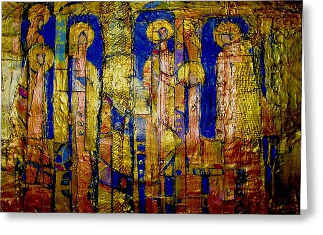 Religious Mosaic Mixed Media Greeting Cards - Glimpses of Golden Angels Greeting Card by Elise Ritter