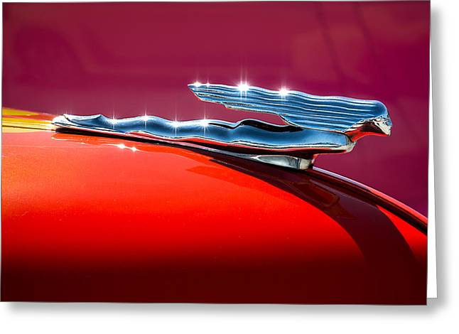 Vintage Hood Ornament Greeting Cards - Glinted Beauty Greeting Card by Douglas Pittman