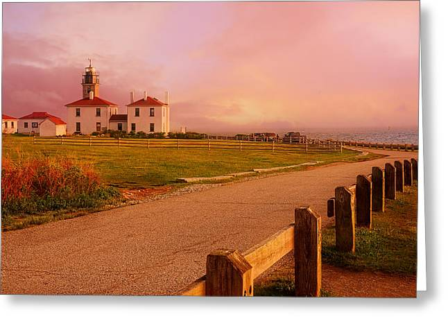 Lighthouse Sunset Greeting Cards - Glisten- Beavertail Park Rhode Island Greeting Card by Lourry Legarde