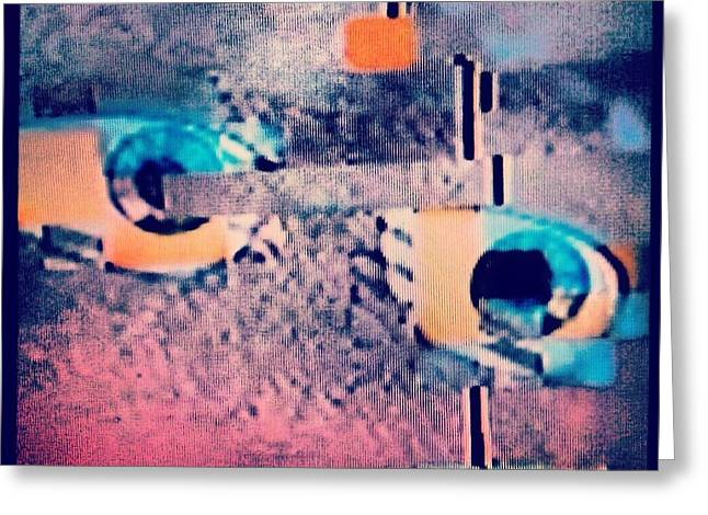 Not Thinking Greeting Cards - Glitch Focused On Away  Greeting Card by Tamar Palmer