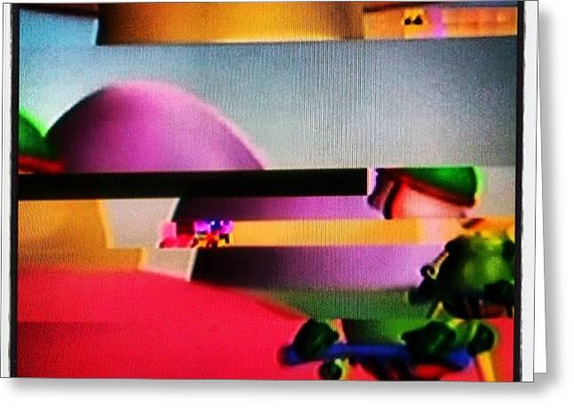 Purple Mushrooms Digital Greeting Cards - Glitch Slices of Animation Land Greeting Card by Tamar Palmer