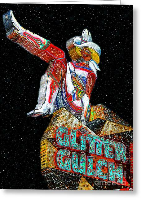 Las Vegas Art Greeting Cards - Glitter Gulch Girl Greeting Card by David Lee Thompson