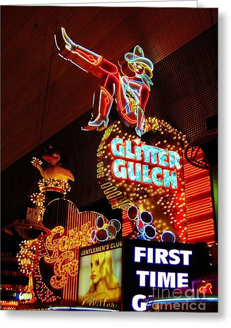 John Malone Artist Greeting Cards - Glitter Gulch Greeting Card by John Malone