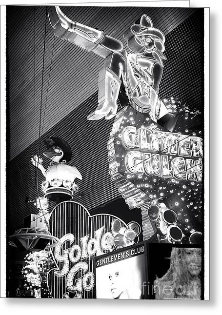 Glitter Gulch Greeting Cards - Glitter Gulch Greeting Card by John Rizzuto