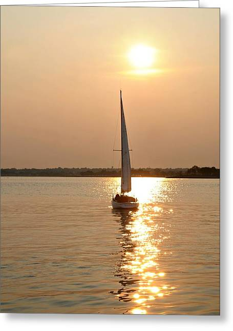 Ocean Sailing Greeting Cards - Glitter on the Harbor Greeting Card by Diana Angstadt