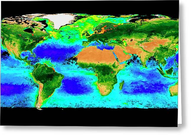 Global Biosphere Greeting Card by Nasa/seawifs/geoeye