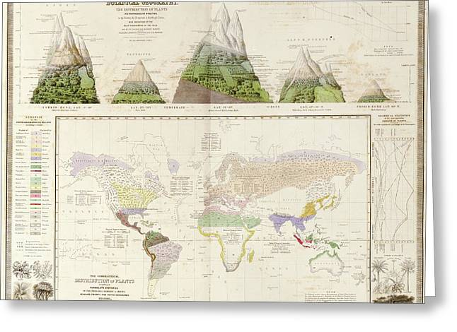 Global Botanical Geography Greeting Card by Library Of Congress, Geography And Map Division