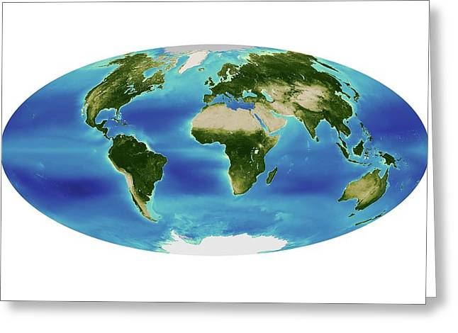 Global Chlorophyll Levels Greeting Card by Nasa Earth Observatory/ocean Color Web/geoeye