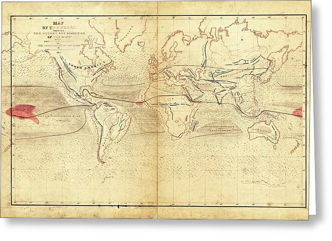 Global Circumnavigation Greeting Card by Library Of Congress, Geography And Map Division