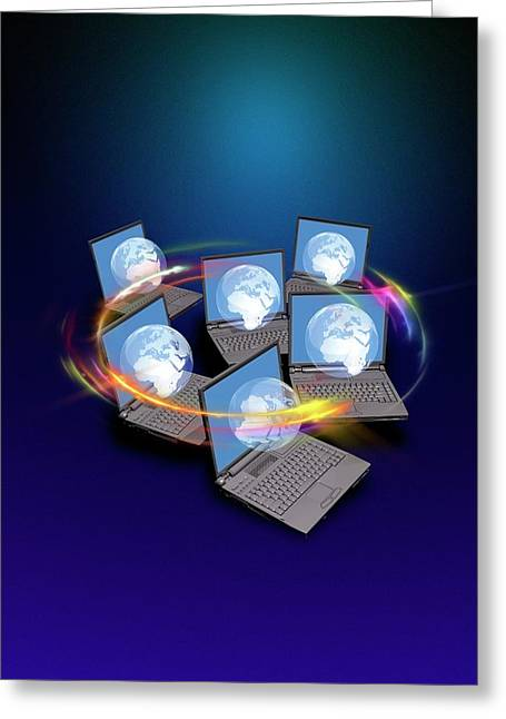 Global Networking Greeting Card by Victor Habbick Visions