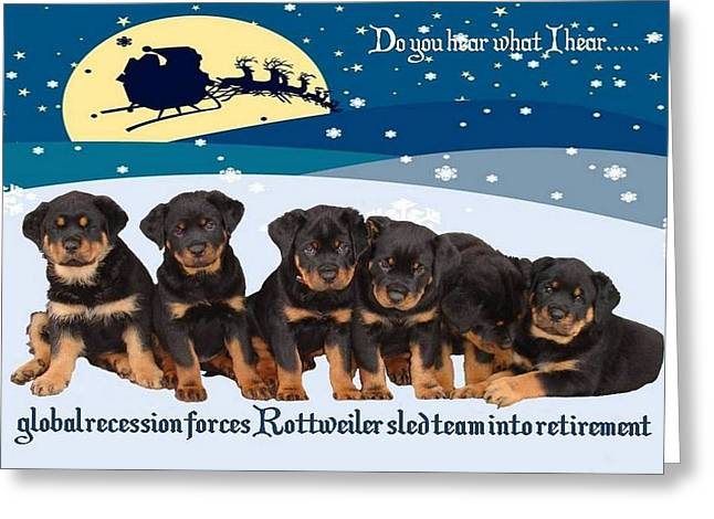 Owner Digital Art Greeting Cards - Global Recession Forces Christmas Sled Team Into Retirement Greeting Card by Tracey Harrington-Simpson