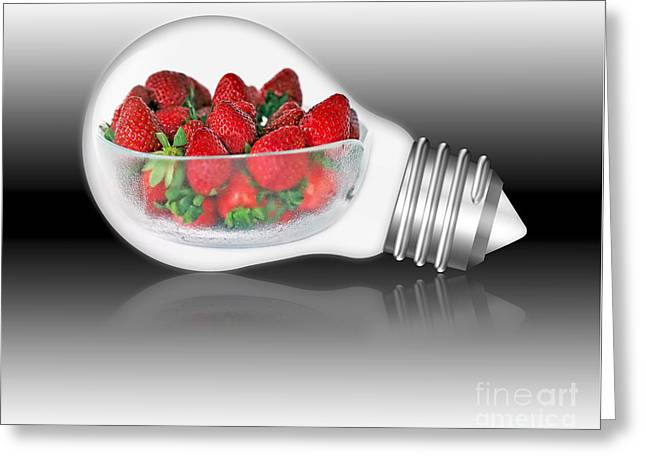 Health Food Greeting Cards - Global Strawberries Greeting Card by Kaye Menner