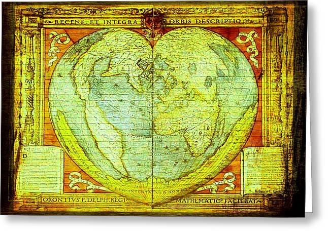 Global Map Mixed Media Greeting Cards - Global Valentine in Urban Street Art Series  Greeting Card by Bellesouth Studio
