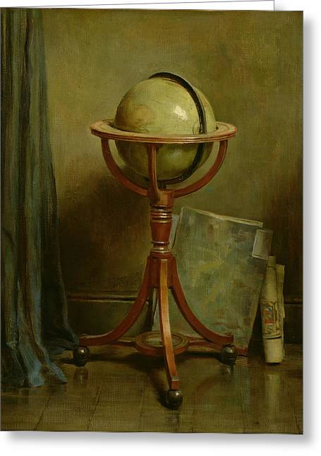 Map Paintings Greeting Cards - Globe And Maps Greeting Card by Ernest Leopold Sichel