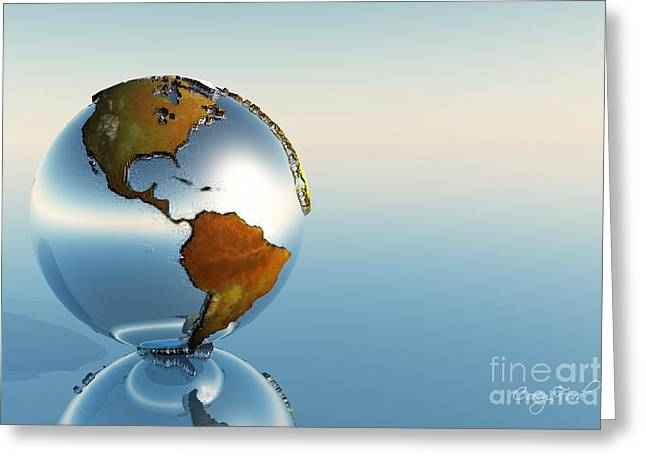 Planet Map Greeting Cards - Globe Greeting Card by Corey Ford