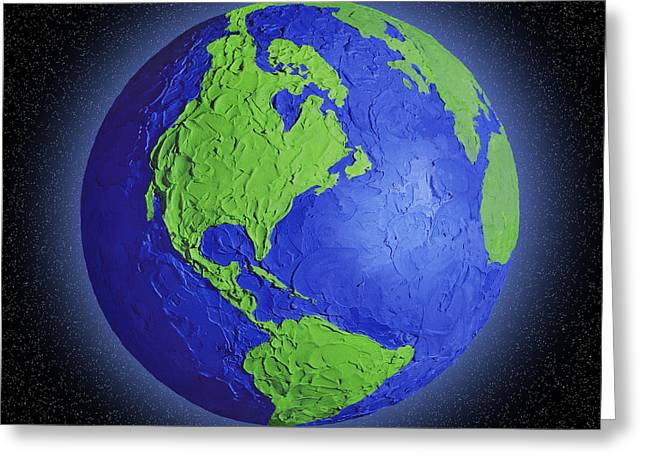 Maps Globes And Flags Greeting Cards - Globe Of Earth In Space Centered On The Greeting Card by Don Hammond