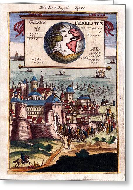 Description Greeting Cards - Globe Terrestre 1683 Antique Map Engraving Greeting Card by Karon Melillo DeVega